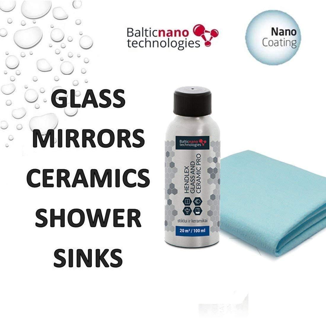 Doccia Guard per vetro e ceramica Pro Hendlex 100ml   universale porta in vetro per doccia e vasca da bagno in ceramica Protector forma lime sapone repellente all' acqua facile e effetto autopulente Baltic Nano Technologies
