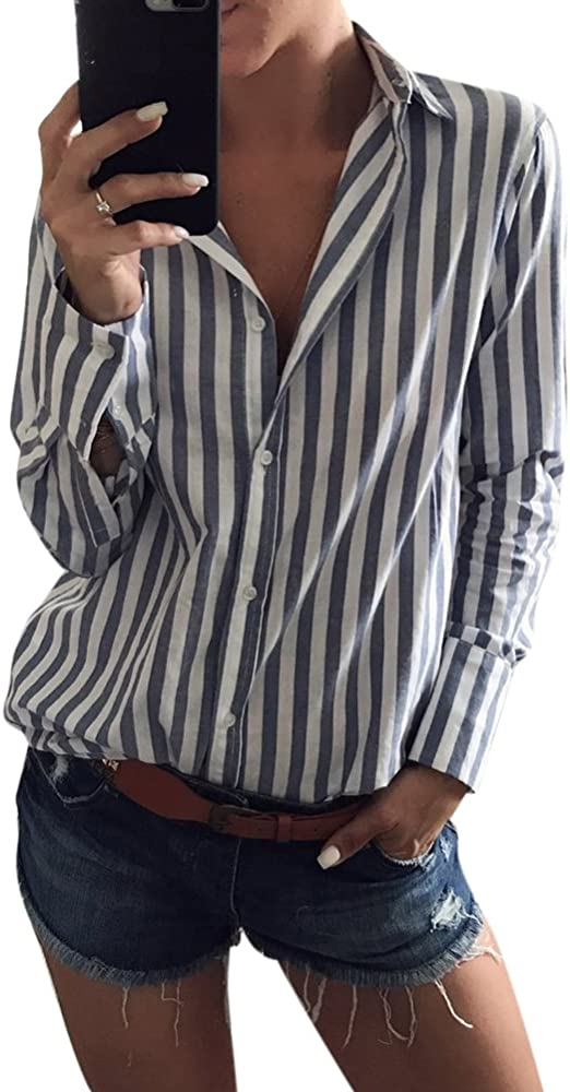 Camisa A Rayas Blusa Casual Elegante Botones Tops Mangas Largas para Mujer Blanco Negro S: Amazon.es: Ropa y accesorios