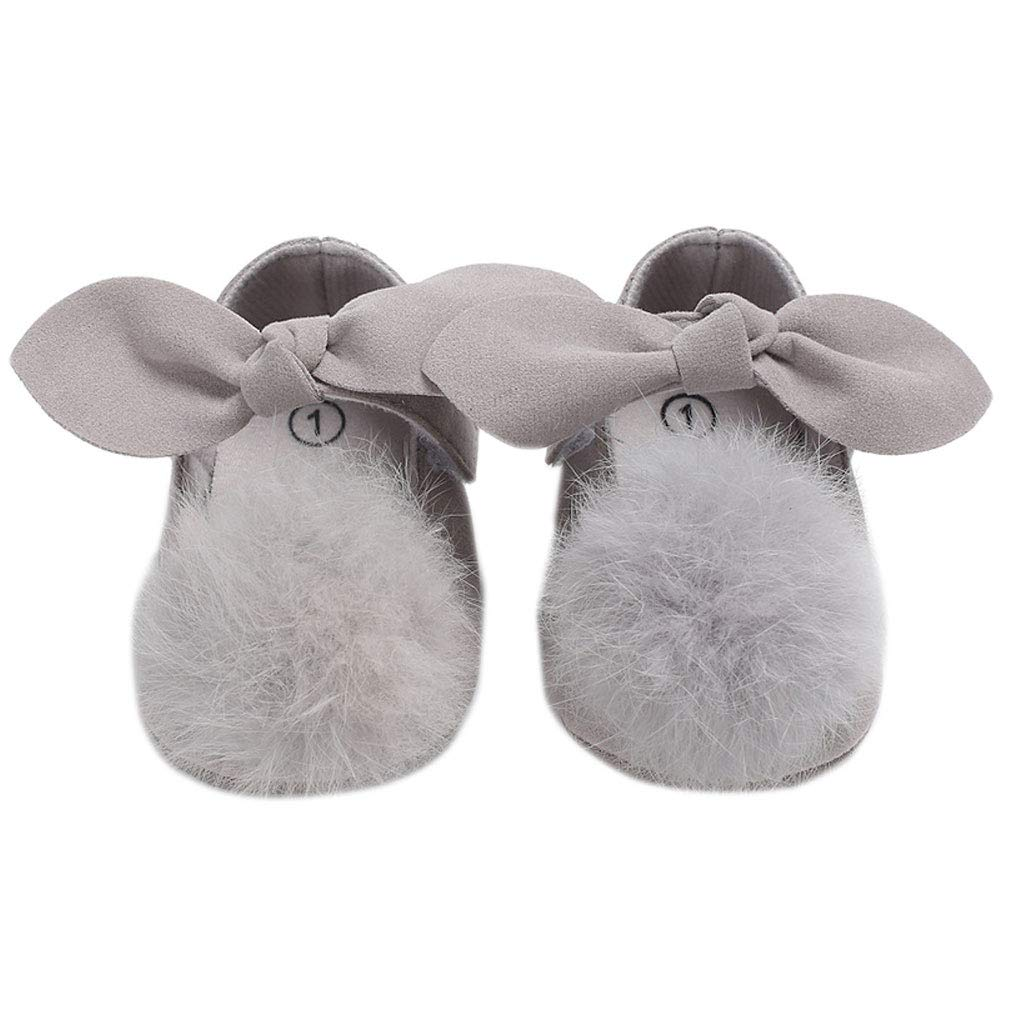 Toddler Baby Girl Shoes Fur Ball Cute Bowknot Princess Footwear