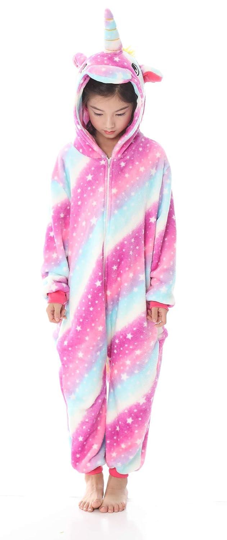 TALLA size 100. OKSakady Niños Unicornio Onesie Pijama Franela Cosplay Disfraz Niños Niñas Mujer Kigurumi