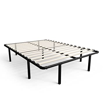 zinus 14 inch myeuro smartbase wooden slat mattress foundation platform bed frame