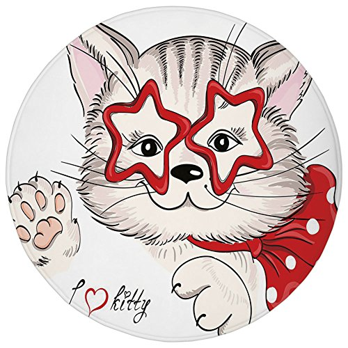 Rug 13800 (Round Rug Mat Carpet,Kids,Fashion Portrait Hipster Cat with Star Shaped Glasses and Bow I Love Kitty,Red Beige Light Pink,Flannel Microfiber Non-slip Soft Absorbent,for Kitchen Floor Bathroom)