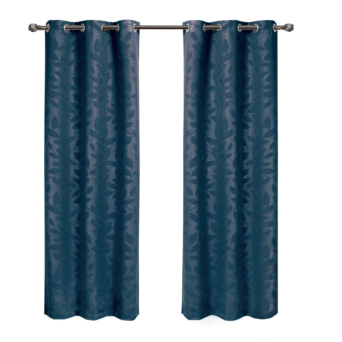 Virginia Navy Grommet Blackout Weave Embossed Window Curtain Panels, Pair / Set of 2 Panels, 37x63 inches Each, by Royal Hotel
