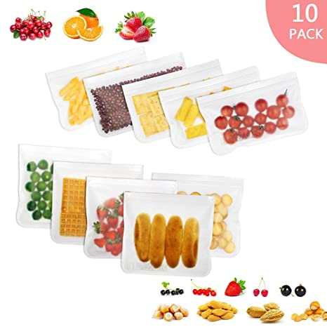 Bolsas de Silicona de Alimentos Reutilizables(10Pack)-Sin BPA/Extra Grueso/A Prueba de Fugas Bolsas Congelar Bolsas de sándwich de Almuerzo para ...