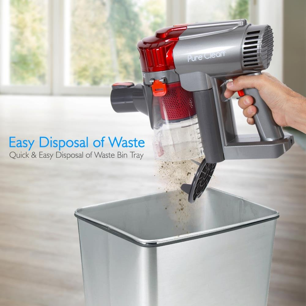 Pyle PUCVCBAT48 Canister Captures Dust and Pet Hair Portable Handheld Cordless Vacuum Cleaner Rechargeable Battery Compact Hand-held Bagless Floor Stick Cyclonic Suction w//HEPA Filter