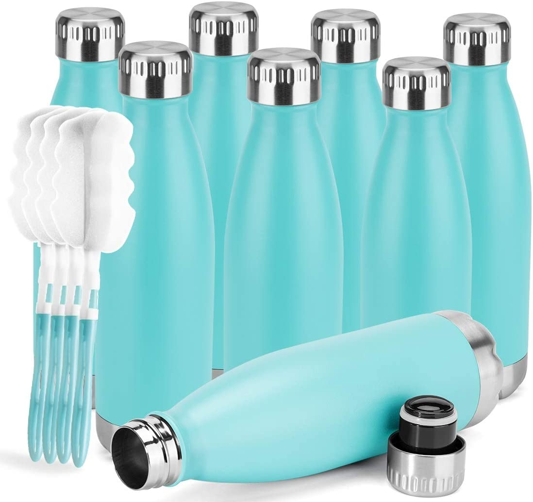 MANYHY 17 oz Stainless Steel Vacuum Insulated Water Bottle Metal Double Wall Cola Shape Travel Thermal Flask for Outdoor Sports Camping Hiking with Cleaning Brush (Mint Green, 8 Pack)