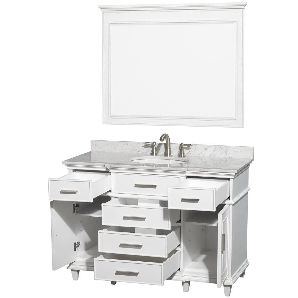 Wyndham Collection Berkeley 48 Inch Single Bathroom Vanity In White With  White Carrera Marble Top With White Undermount Oval Sink And 44 Inch Mirror  ...