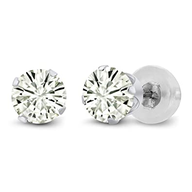 14K White Gold Stud Earrings Forever Classic Round 1 00ct (DEW) Created  Moissanite by Charles & Colvard