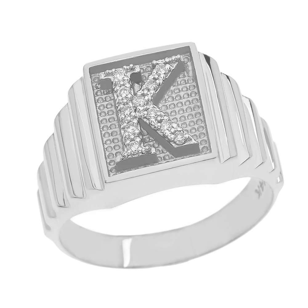 Men's 925 Sterling Silver Layered Band Square Face Diamond Initial Letter K Ring (Size 12)
