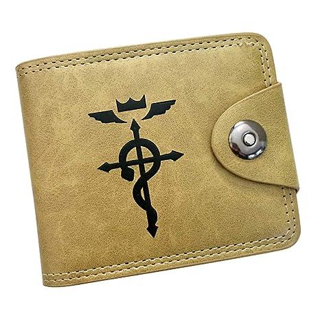 Cosstars Fullmetal Alchemist Anime Cartera de Cuero Artificial Monedero Tríptico Billetera Clásico Portatarjetas para Hombre /