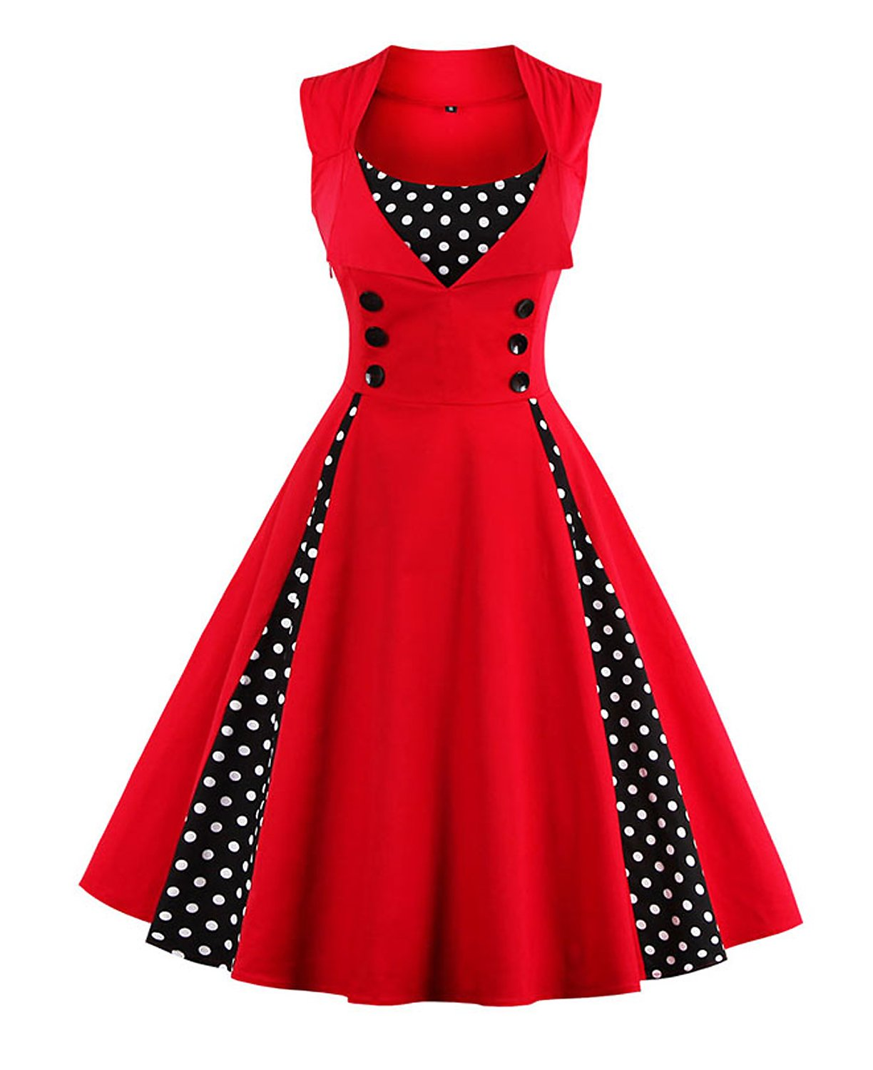 KILLREAL Women's Polka Dot Retro Vintage Style Cocktail Party Swing Dresses 3