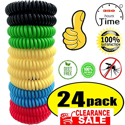 24 Pack Mosquito Repellent Bracelet,100% Natural Non-Toxic Bug Repellent Bracelet 350Hrs of Protection - Insect Bug Repellent for kids,Women,Men by Mouttop