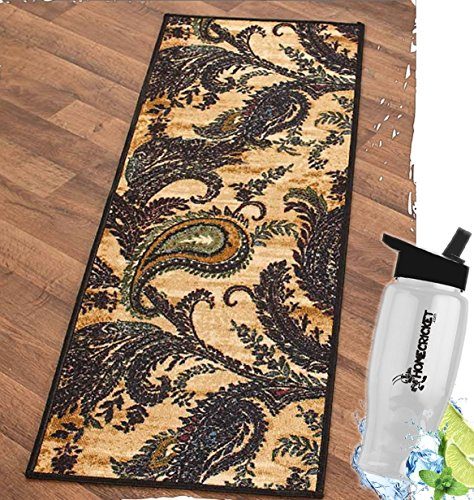 Gift Included-  Decorative High-Traffic Floor Rugs and Runners Paisley Decor Nylon W/Latex Backing + Free Bonus Water Bottle by  Homecricket (Runner, 20'' x 59'') by HomeCricket