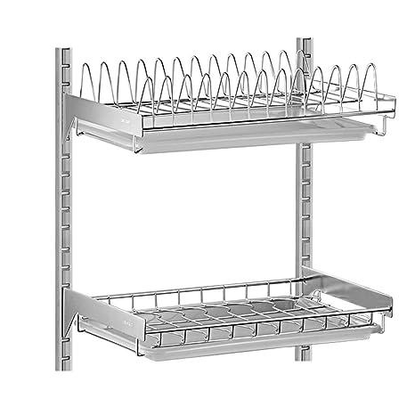 Shelf Estante-304 Acero Inoxidable montado en la Pared Plato de Drenaje desagüe/Cocina Colgante Plato/Estante de Almacenamiento de la Bandeja 42 * 40 ...