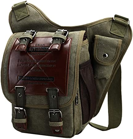 Vintage Men/'s Canvas Messenger Shoulder Bag Military Crossbody Book Bags Satchel