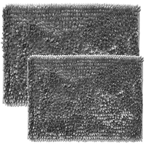 "Sweet Home Collection Bath Set 2 Piece Butter Chenille Noodle Soft Luxurious Rugs Absorbent Non Slip Latex Back Microfiber Bathroom Mat, ((1) 17"" x 24"" & (1) 20"" x 32"" Silver"