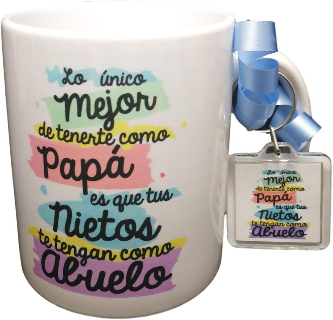 Taza + Llavero DE Regalo con Frase para Abuelo LO Unico Mejor DE TENERTE como Papa ES Que Tus Nietos TE TENGAN como Abuelo Regalo Abuelo. Regalo Dia del Padre Incluye Llavero