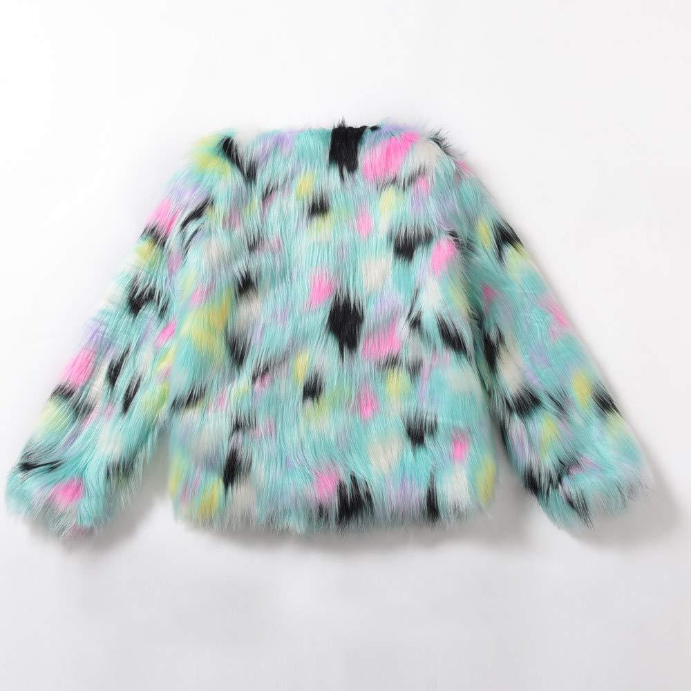 YOYORI Womens Ladies Warm Faux Fur Coat Jacket Winter Gradient Color Parka Outerwear