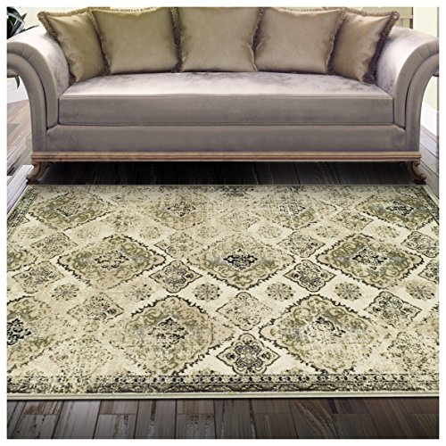 Superior Mayfair Collection Area Rug, 8mm Pile Height with Jute Backing, Vintage Distressed Medallion Pattern, Fashionable and Affordable Woven Rugs - 5' x 8' Rug, Ivory