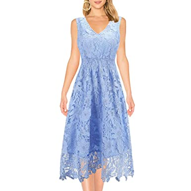 95a11de6f3 KIMILILY Women's Summer Lace Dress Sleeveless V Neck Cocktail Dresses