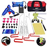 FLY5D 58Pcs Car Body Paintless Hail Removal Dent Puller Tap Down Auto Ding Dent Repair Dent Rods Kit Professional PDR Tools Ding Dent Repair Rods Paintless Hail Removal Rods