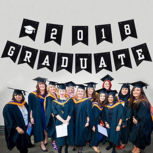 LUOEM 2018 Graduation Party Banner GRADUATE Graduation Cap Pennant Flags Garland by