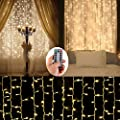 Battery Operated Curtain String Lights,300 LED Icicle Window Background Fairy Lights Decoration Lights for Wedding,Camping,BBQ