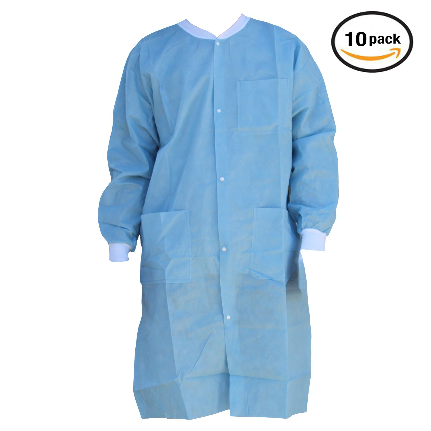 Premium Quality SMS Coat for Medical Professionals, Made of SMS Soft Fabric 3 Layer, Lab SMS Coat Static Free, Latex Free, Pack of 10, (Medium, Ceil Blue)