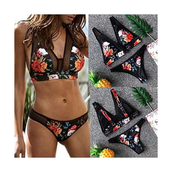 BHYDRY Donne Costume da Bagno Stampa Moda Push-up Imbottito Reggiseno Spiaggia Bikini Set 4 spesavip