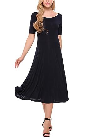Meaneor Damen Elegant Kleid Stretch Skaterkleid Partykleider Sommerkleider  Rundhals Knielang kurzarm Blau S