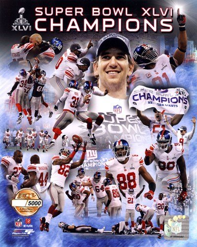 New York Giants Super Bowl XLVI Champions PF Gold - Hand Numbered Limited Edition. - 8x10 Inches - Art Print Poster (Super Bowl Giants Poster)