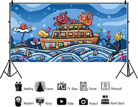 CdHBH Cartoon Underwater Marine Theme 10x5ft Vinyl Background Devil Octopus Colorful Fishes Steamboat Anchor Whale Sea Waves Illustration Backdrop Child Baby Portrait Mermaid Birthday Party Banner