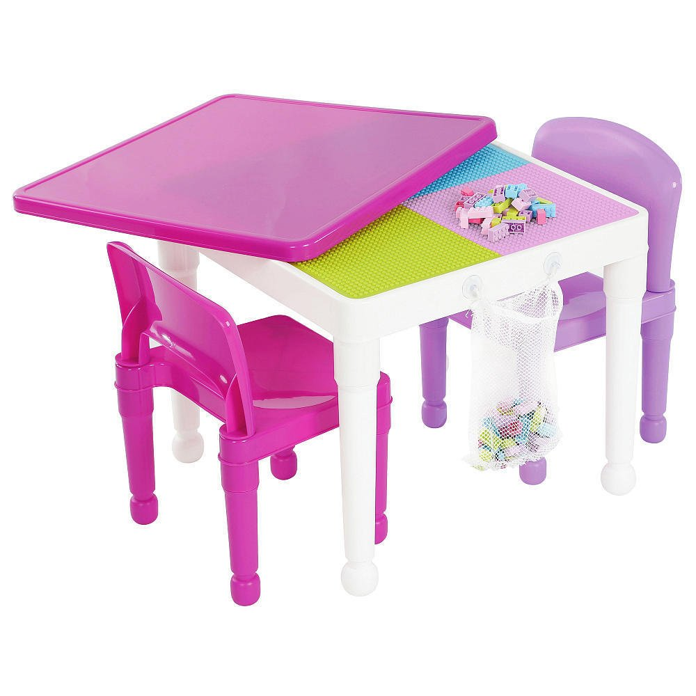 Tot Tutors Kids 2-in-1 Plastic Building Blocks-Compatible Activity Table and 2 Chairs Set, Square, Bright Colors