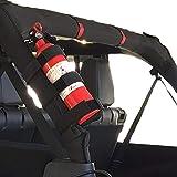 Jeep Fire Extinguisher Holder Adjustable Roll Bar, Moveland Fire Extinguisher Mount Strap for Jeep Wrangler TJ YJ JK CJ(Black)