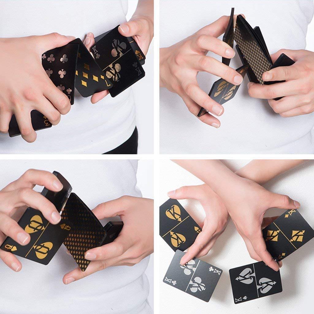 Lareina.C 54pcs//Deck of Playing Cards Waterproof Plastic Black Gold PVC Poker Cards Classic Magic Cards Tricks Tool