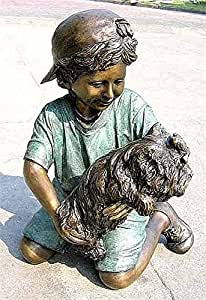 Bronze Boy and His Dog Statue and Sculpture