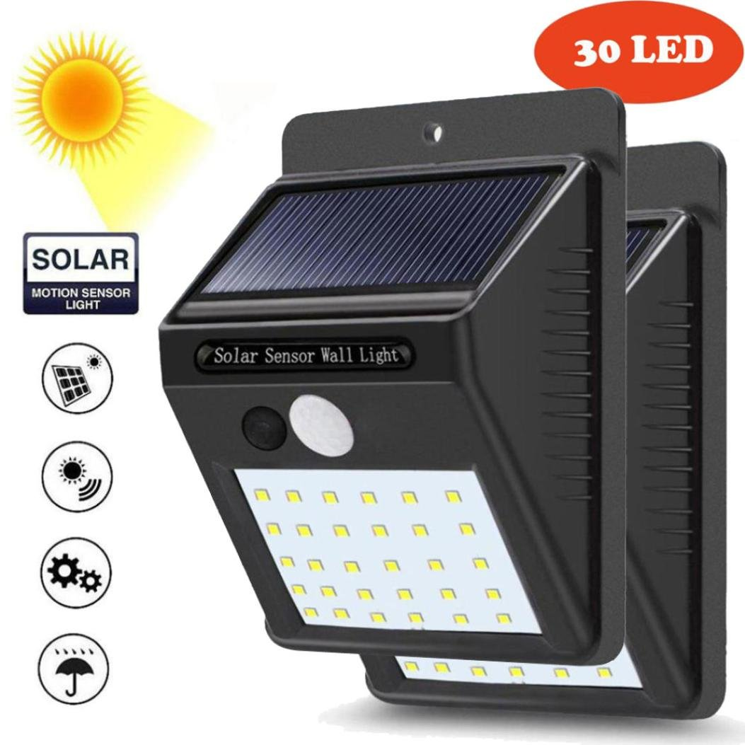 Solar Lights Outdoor,30 LED Wireless Solar Motion Sensor Lights,Waterproof Security Lights for Outdoor Wall,Patio, Deck, Yard, Garden with Motion Activated Auto On/Off (2 PCS)
