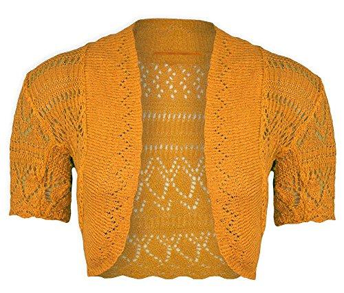corta Shrug crochet Janisramone Bolero Cardigan Ragazze Mostarda Crop nuove a maglia manica Cima wfaXO