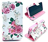 iPhone 5S Case,iPhone SE Case, Welity Cute Fashion Pink Flowers Graphic Magnetic Snap Wallet Flip PU Leather With Stand Cover Case for Apple iPhone 5S/SE/5G