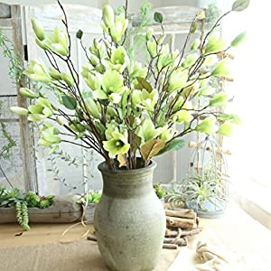 Gessppo Artificial Flowers, Fake Flowers Silk Plastic Artificial Roses 9 Heads Magnolia Bridal Wedding Bouquet for Home Garden Party Wedding Decoration,4 Colors Available 73