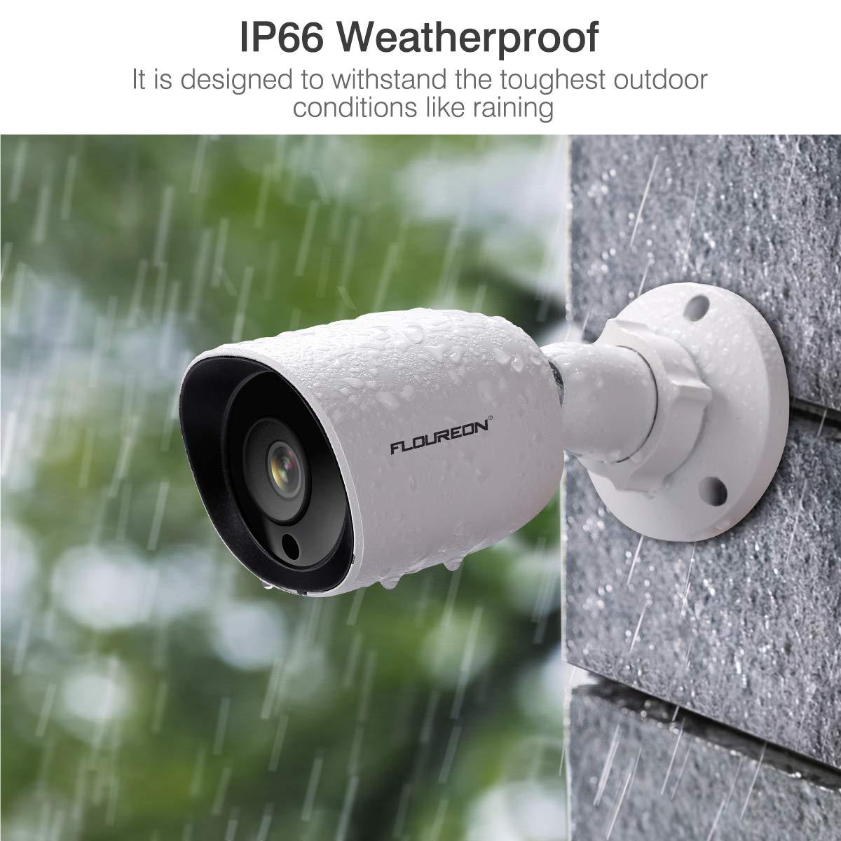 FLOUREON 1080P HD 3000TVL Dome Outdoor Security Surveillance CCTV Camera 4-in-1 TVI//AHD//CVI//Analog IP66 Weatherproof 940nm Invisible IR Night Vision with Metal Eyeball