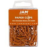 JAM PAPER Colorful Standard Paper Clips - Regular 1 Inch - Orange Paperclips - 100/Pack