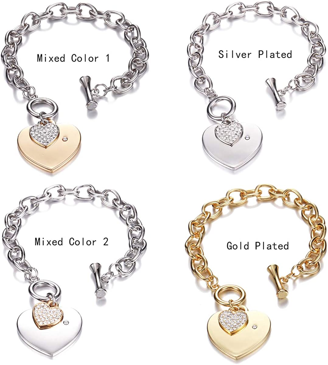 PJ Heart Crystal Charm Bracelet for Women Girls Toggle Clasp High Polished Trendy Love Heart-Shaped Link Chain Charms Bracelets Jewelry