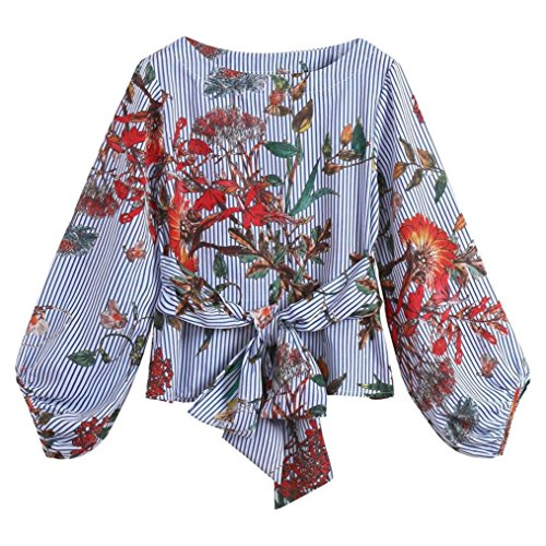 Women Lantern Sleeve T Shirt Belted Mixed Striped Shirt Long Sleeve Tops Autumn Floral Blouse Pullover by SanCanSn (Blue,S) ()