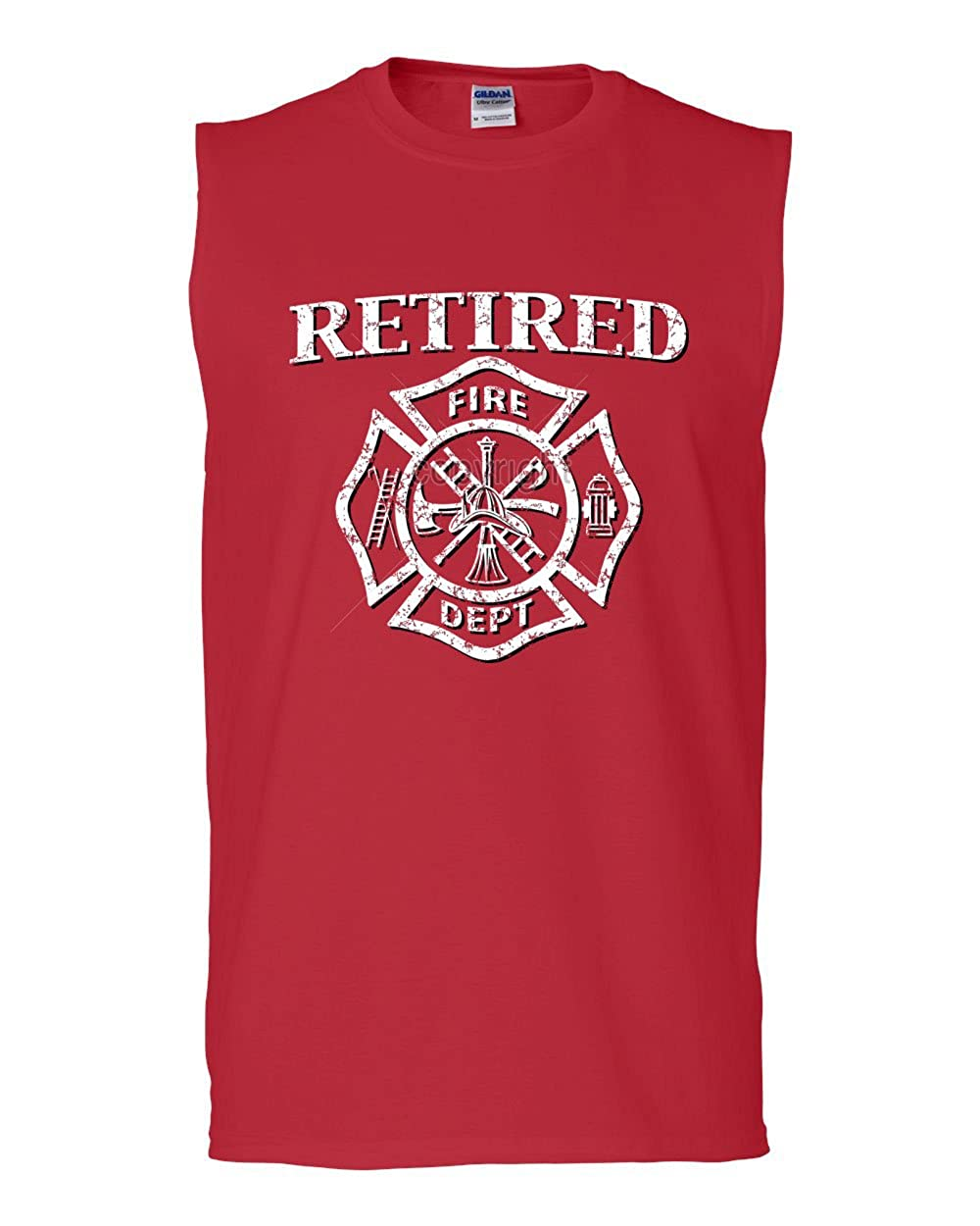 Tee Hunt Retired Firefighter Muscle Shirt Fire Dept Volunteer Retirement 100525-MS