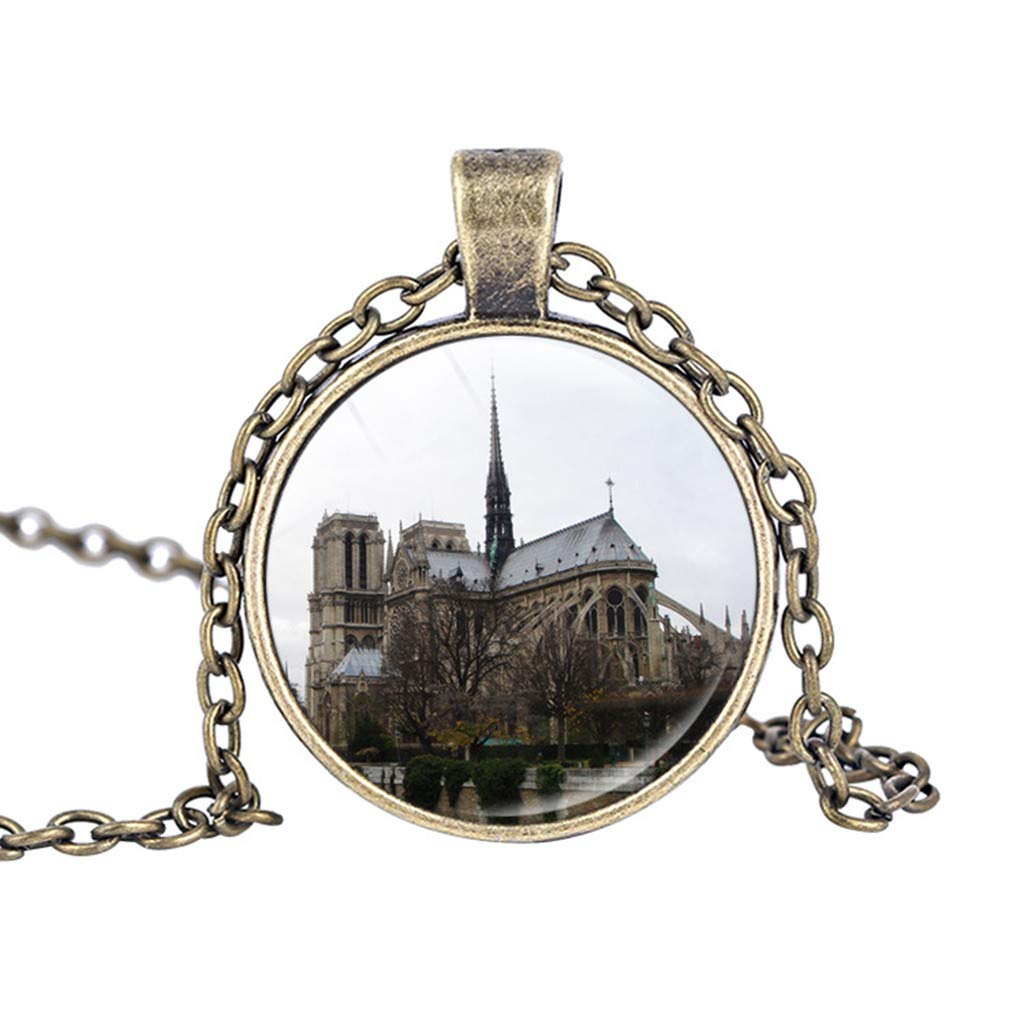 Binory Day & Night Alternation of De Paris Cathedral Pendant Necklace Souvenir,Creative Fashion Clothing Accessory for Mothers Day Valentine Birthday Gift