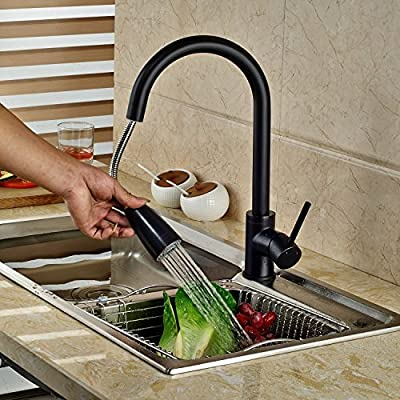 Rozin Oil Rubbed Bronze Pull Out Spray Kitchen Sink Faucet Swivel Spout Mixer Tap