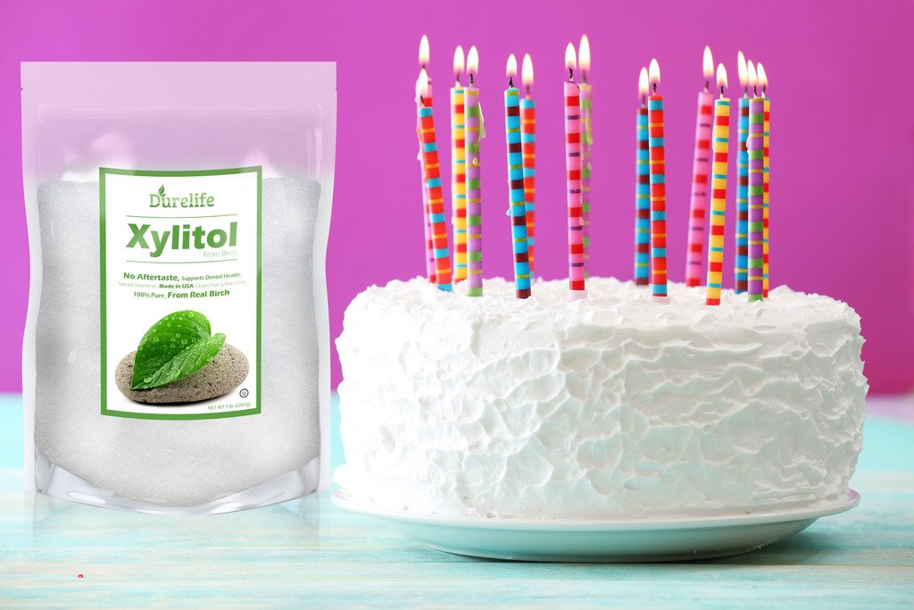 DureLife Birch XYLITOL Sugar Substitute 5 LB Bulk Size (80 OZ) Made From Pure Birch Xylitol In The USA , NON GMO - Gluten Free - Kosher , Packaged In A Large Resealable zipper lock Stand Up Pouch Bag by DureLife (Image #6)