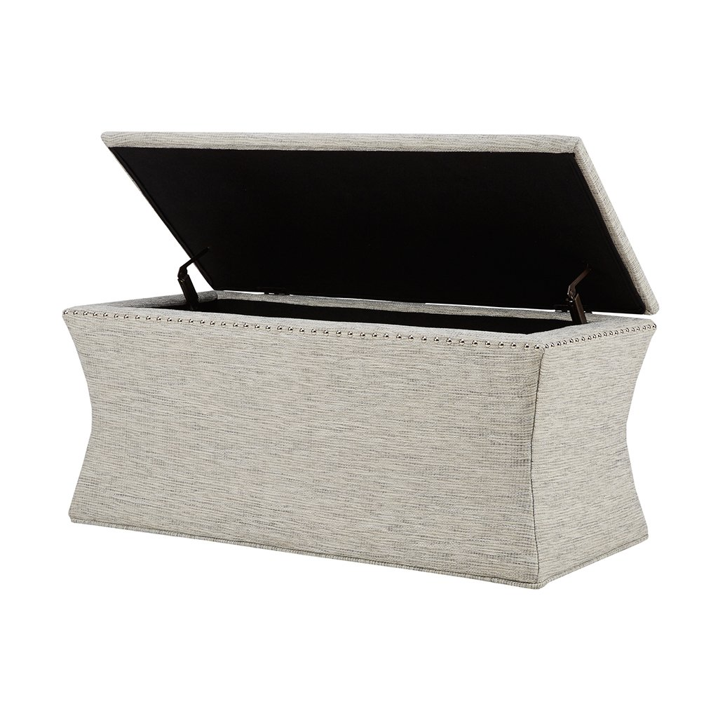 Madison Park MP105-0218 Bijou Solid Wood, Polyester Fabric Toy Chest Bench Modern Style Ottoman with Storage, Grey Multi