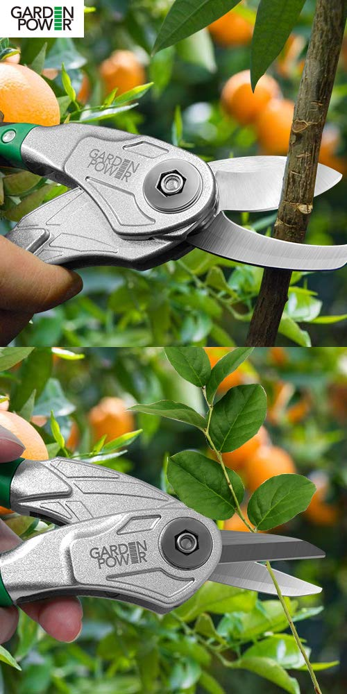 Garden Power Hand Pruner /& Shears 2 in 1 Multi-Cutter Tree Trimmers secateurs Unique Locking Design Allows Switching Between Pruner and Shear snipping Function Clippers for Garden Hedge /& Shears